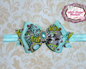 baby girl headband mint brown layered hair bow headband brown paisley mint headband polka dot girls back to school boutique hair bow ready t