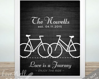 Bike - Bicycle - Cyclist - Triathlon - Bike Love - Custom Name & Date Print - Bike Wedding - Personalized Wedding Gift - Anniversary Gift