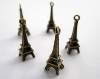 10 antiqued bronze 3D Eiffel tower Paris charms - 8x23mm