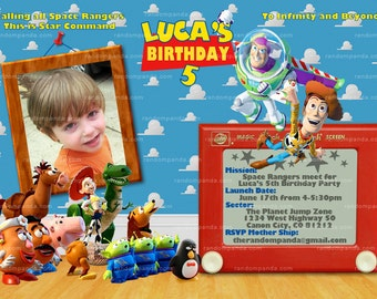 Personalize Toy Story Invitation, Buzz Lightyear Invitation, Toy Story Party