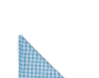 Turquoise Gingham Pocket Square