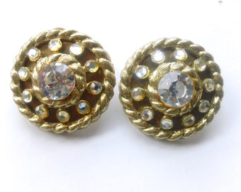 Madmen Rhinestone Statement Earrings Retro Glamour Fashion Jewelry