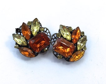 Lemon & Orange Rhinestone Clip On Earrings Vintage Fashion Mad Men Jewelry