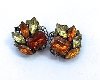 Lemon & Orange Rhinestone Clip On Earrings Vintage Fashion Mad Men Jewelry