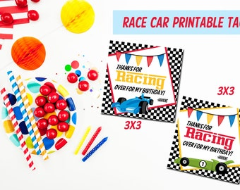 Printable Race Car favor tags, Race Car birthday tags, Print yourself Race Car Birthday, Birthday Favor tags