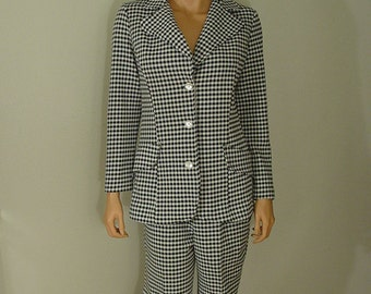 Vintage MOD Polyester Double Knit Houndstooth Suit