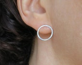 Circle Studs - Post Hoops - Round Earrings - Small Sterling Silver Everyday Earrings