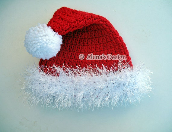Crochet Pattern 096 - Santa Hat from 0-3 months to Teen/Adult - Christmas Hat - Baby Toddler Children Teen Adult Winter Hat - Christmas