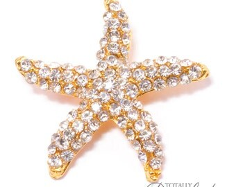 60pcs Gold Rhinestone Starfish Wedding Invitation Buckle Slides, Buckle 326-G