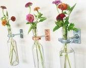 2 Wine Bottle Wall Flower Vases - Mother's day gift - Wall Vase - Spring Decor - Spring Flowers - Wall Decor  - hanging vase