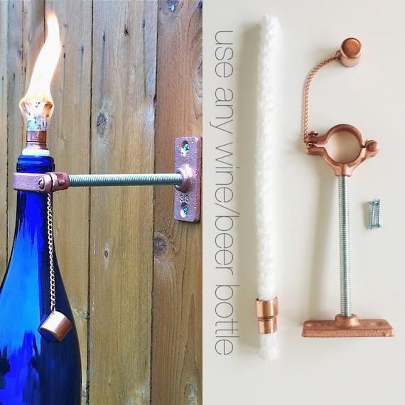 4 HARDWARE ONLY  Wine or Beer  Tiki Torch kits -  DIY Outdoor Lighting - Christmas gift for men, Hanging Lantern - Outdoor Tiki Torch
