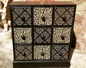 Black and Gold Damask Wooden Mini Chest of Drawers Jewellery Box Trinket Box Craft Storage