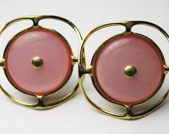 Vintage Button Earrings - Luscious Cotton Candy Pink - Vintage Buttons - Handmade