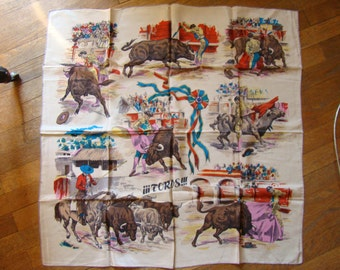 Vintage Silk Scarf - Bullfight Corrida