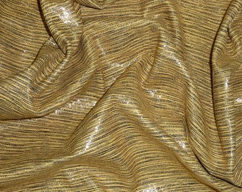 "PRECUT 10""x18"" Black Stripes on CURRY Bamboo Print Cowhide #617 2 oz / .8 mm PeggySueAlso™"