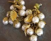 Vintage Faux Pearl Post Earrings, Gilt Metal Leaves, Miriam Haskell Style