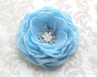 Light Blue Hair Flower/ Bridal Flower/ Brooch/ Handmade Accessory