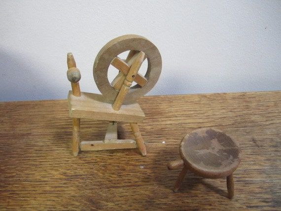 Doll House Spinning Wheel And Three Legged Stool By