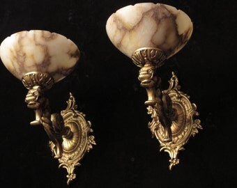 Pair of wall lights sconces with lion head sculptures bronze & real white alabaster by Sergio Merlin