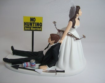 bow hunting wedding cake toppers no fishing on dock and groom wedding cake topper 12107