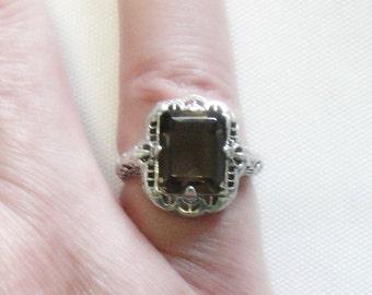 Smoky Quartz Ring - 3 Carats - Sterling Silver - Vintage