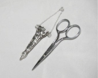 Scissors and Case - Sterling Silver Case and Chain - Stainless Steel Scissors - Sewing Scissors - Vintage