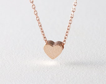 Rose Gold Heart Necklace Sterling Silver