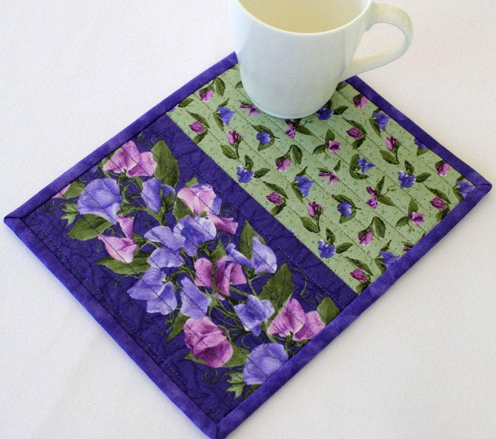 Quilted Mug Rug Purple Mug Rug Sweet Pea Flowers Snack Mat