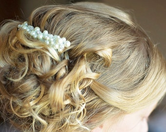 Pearl Hair Comb Bridal Sparkly Hair Piece Beaded Pearl Haircomb Ivory Hair Accessories Bride Wedding Hair Comb With Pearls Decorative Comb