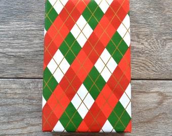 SALE - Christmas Argyle Wrapping Paper, 2 Feet x 10 Feet