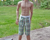Plaid boardshorts for your Iplehouse SID BJD ball jointed doll board shorts