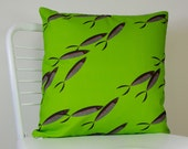 Green Pillow with Black Sardines