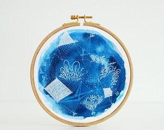 Constellation Gardens - hoop art, original watercolor, 6.5''