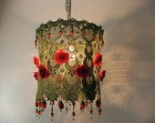 English Rose -Sima's Favorite Flowers with Green Hand Dyed Lace,Rose Bud and Glass Beads- Romantic Victorian hanging Pink Flowers lamp shade