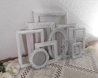 White Shabby Chic Frame Set Picture Photo Beach Cottage French Country Southern Farmhouse Home Decor Rustic Country Wedding Decoration
