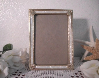 Vintage Gold White 5 x 7 Picture Photo Frame Country Mid Century Hollywood Regency Home Decor Rustic Wedding Decoration Birthday Gift Her