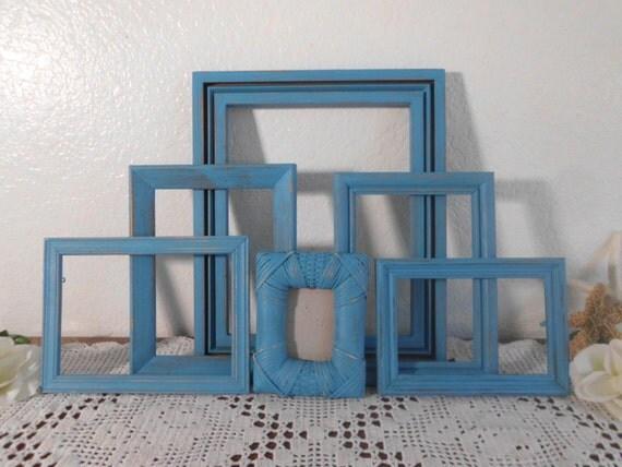 Aqua Turquoise Blue Picture Frame Set Shabby Chic Beach Cottage Coastal Seaside Tropical Island Ocean Nautical Home Decor Gift Him Her