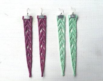 Long Chevron Arrow Lace Earrings