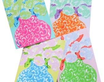 Whimsical Flowersl Note Card Set