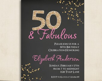 Adult Pink Black & Gold 50th Birthday Invitation Chalkboard Glitter  Milestone Invite Any Age 30th 40th 50th