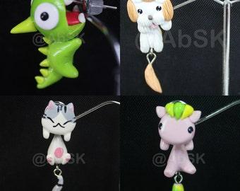 Handmade Clay Cute Animal Dog / Cat / Chameleon Earring