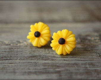 Black Eyed Susan Flower Earring Studs