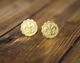 Fleur de Lis Earring Studs in Raw Brass, Stainless Steel Posts