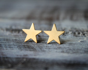 Smooth Star Earring Studs in Raw Brass, Stainless Steel Posts