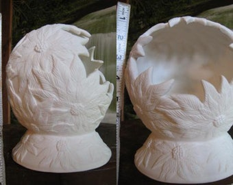 Lovely, Poinsettia Candle holder, Poinsettia Shadow box, Christmas decoration, Ready to paint, Ceramic bisque, u-paint
