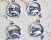 FOUR Brass Dolphin hoop Charms, Left and Right Facing, Sterling Silver Finish