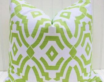 Green Pillow, Throw Pillow, Light Green, Cushion Cover, Geometric, Trellis, Soft Green Pillow Cover
