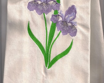 New Kitchen Tea Towel with IRIS embroidered Tennessee State Flower