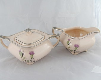 Antique Taylor Smith Taylor Creamer and Sugar Bowl 1800's Pink with Purple Thistle Flowers Unique Rare Victorian Design