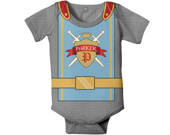Medieval Knight Baby Bodysuit, Personalized Castle Birthday Outfit, Knight in Shining Armor Baby One-Piece, Knight Costume